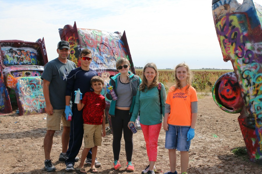 Perrin Johns Family at Cadillac Ranch
