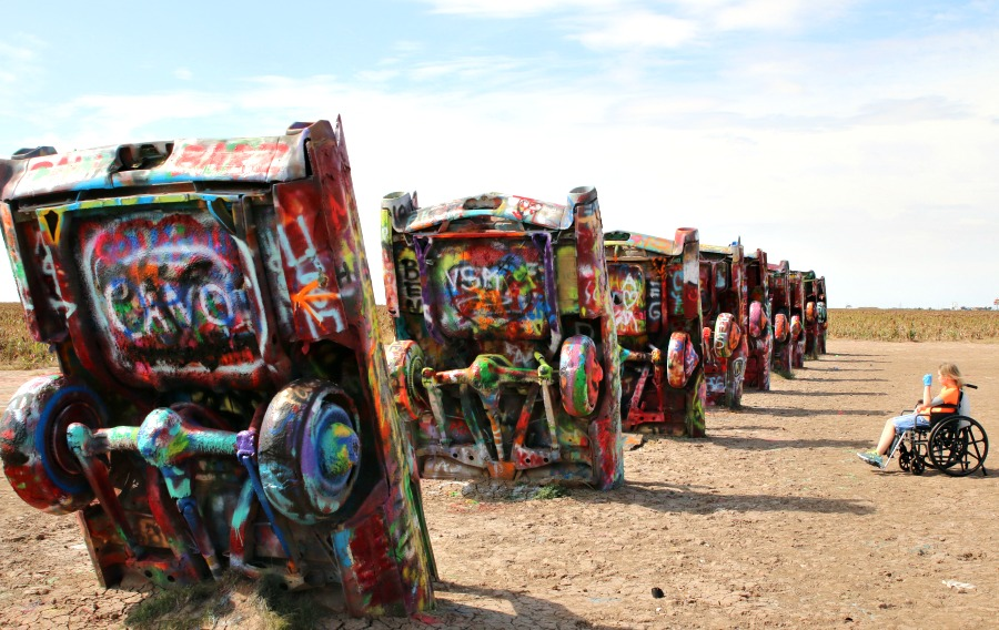 wheelchair at Cadillac Ranch