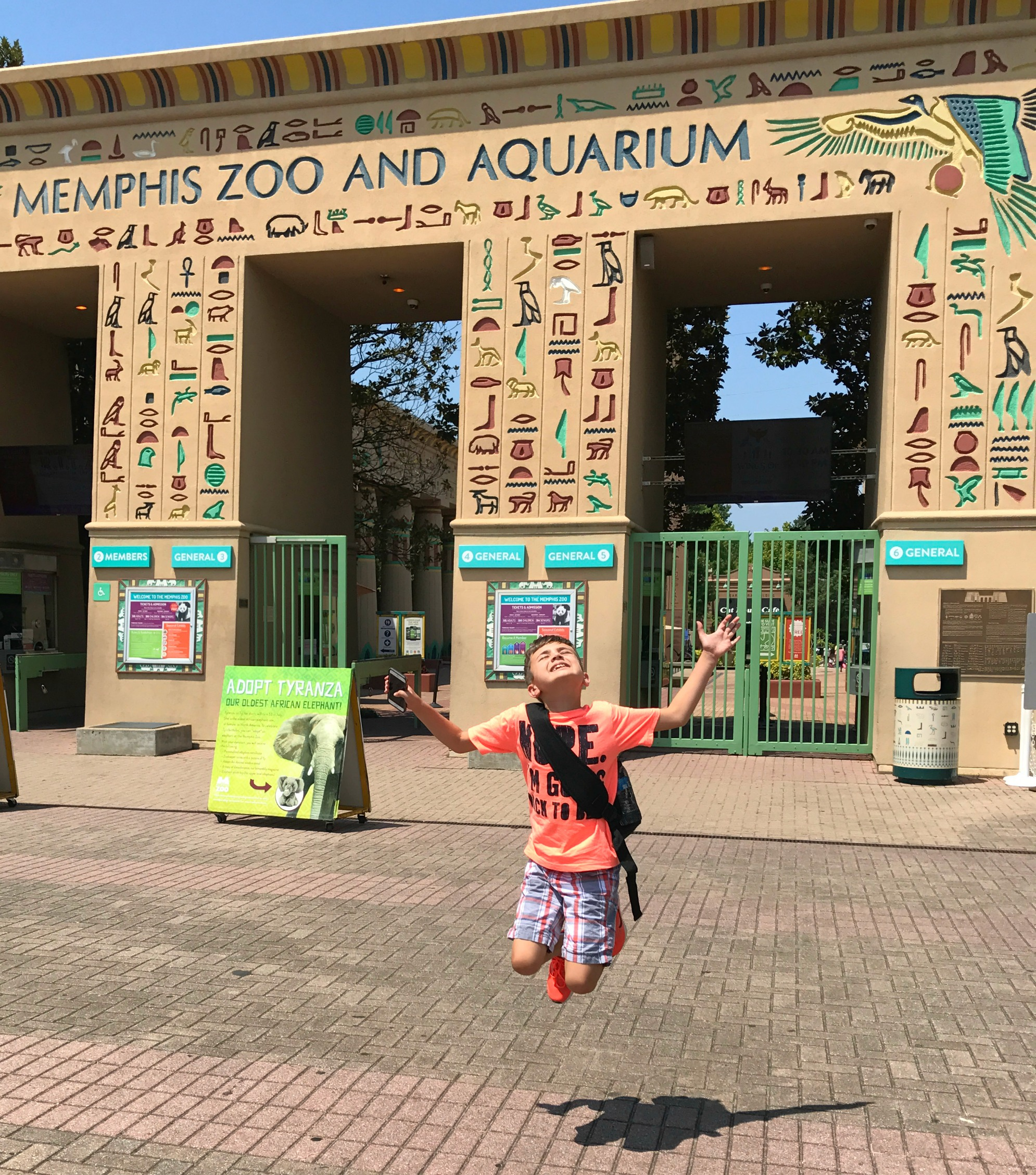 Noah jumping at zoo