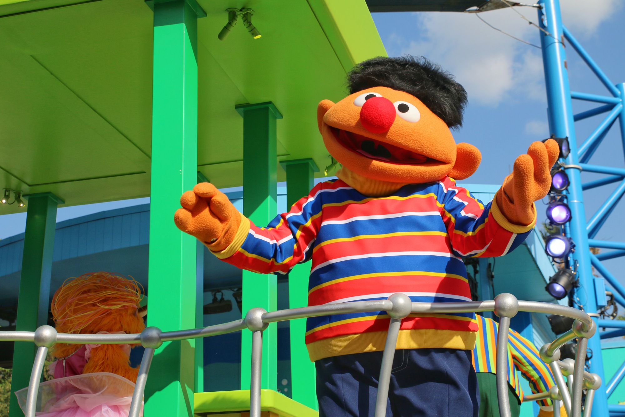 Ernie on parade float at SeaWorld
