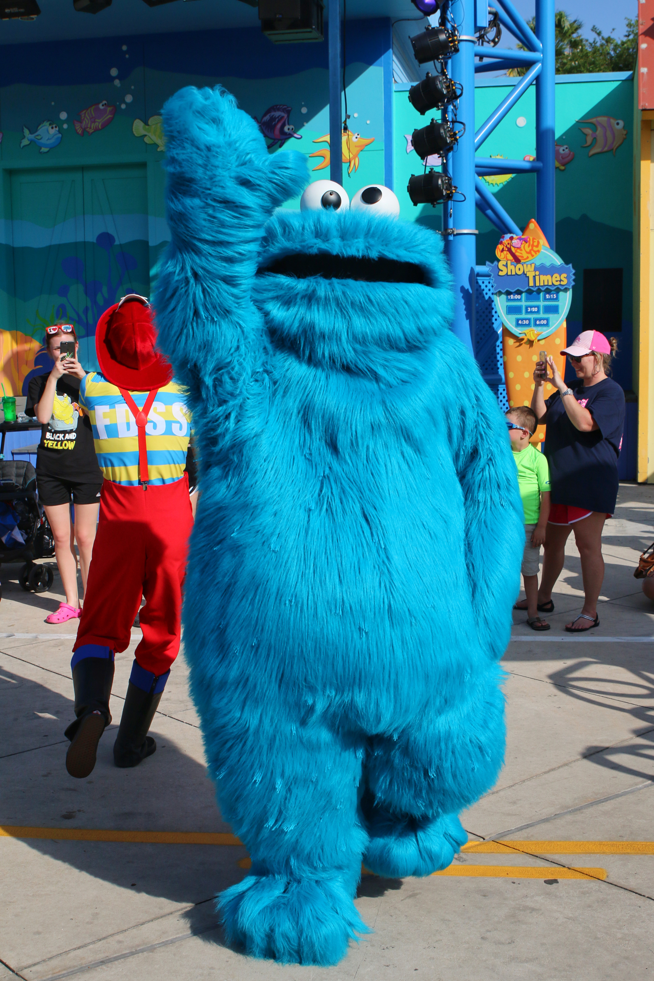 Cookie Monster dancing at Sesame Street Party Parade