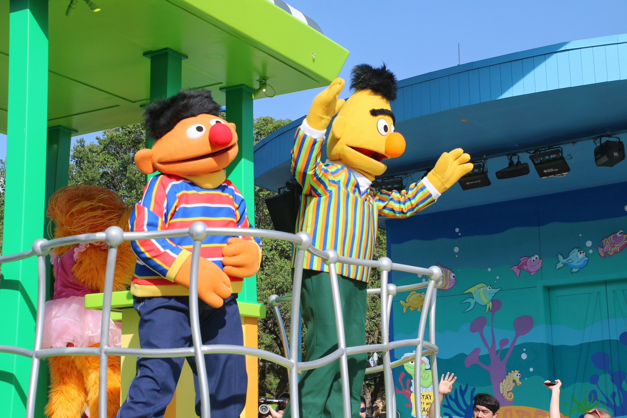 Bert and Ernie on Sesame Street parade float