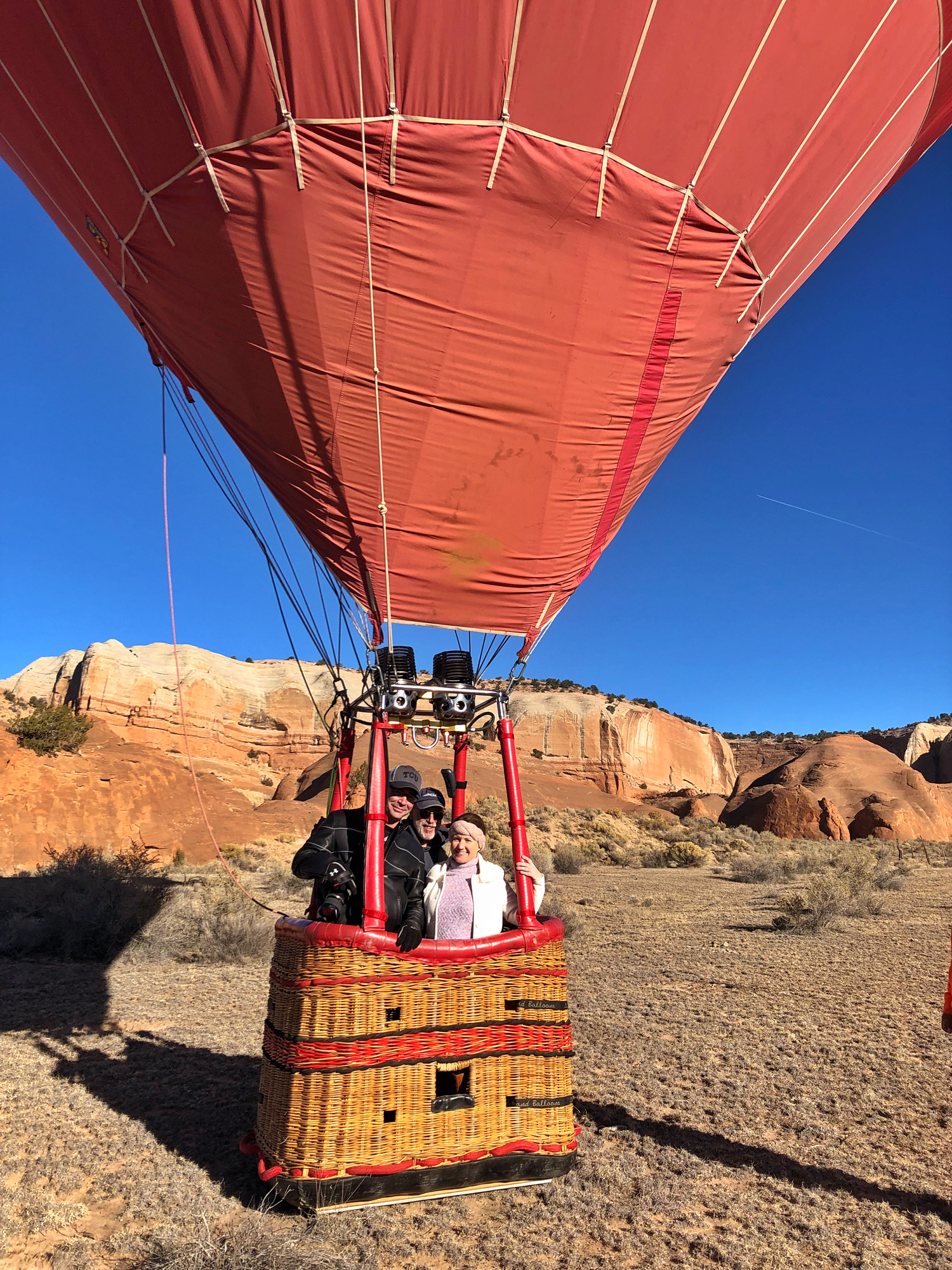Andrew and Dwan after their hot air balloon ride in gallup, New Mexico