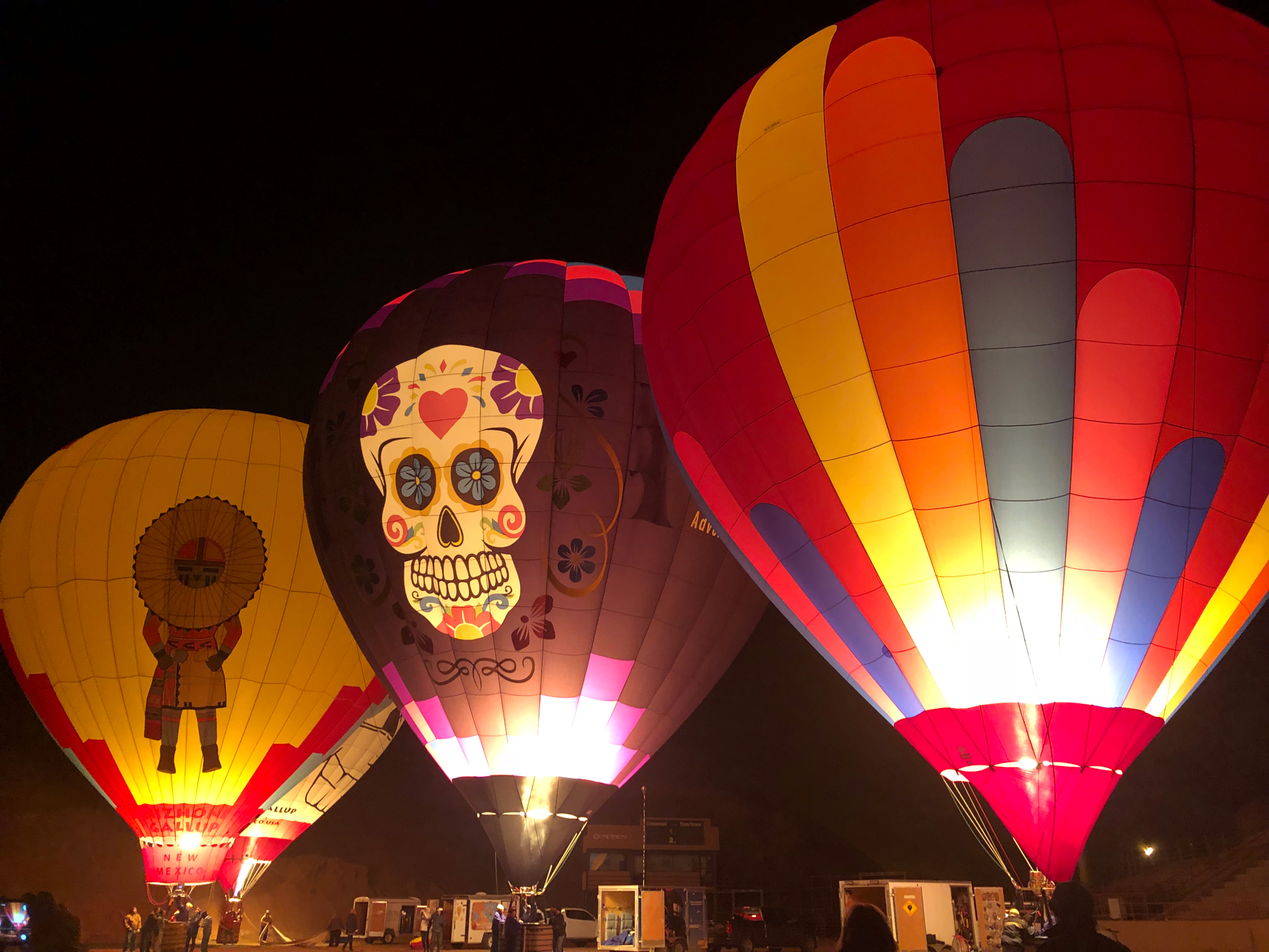 hot air balloon glow at night in gallup, New Mexico