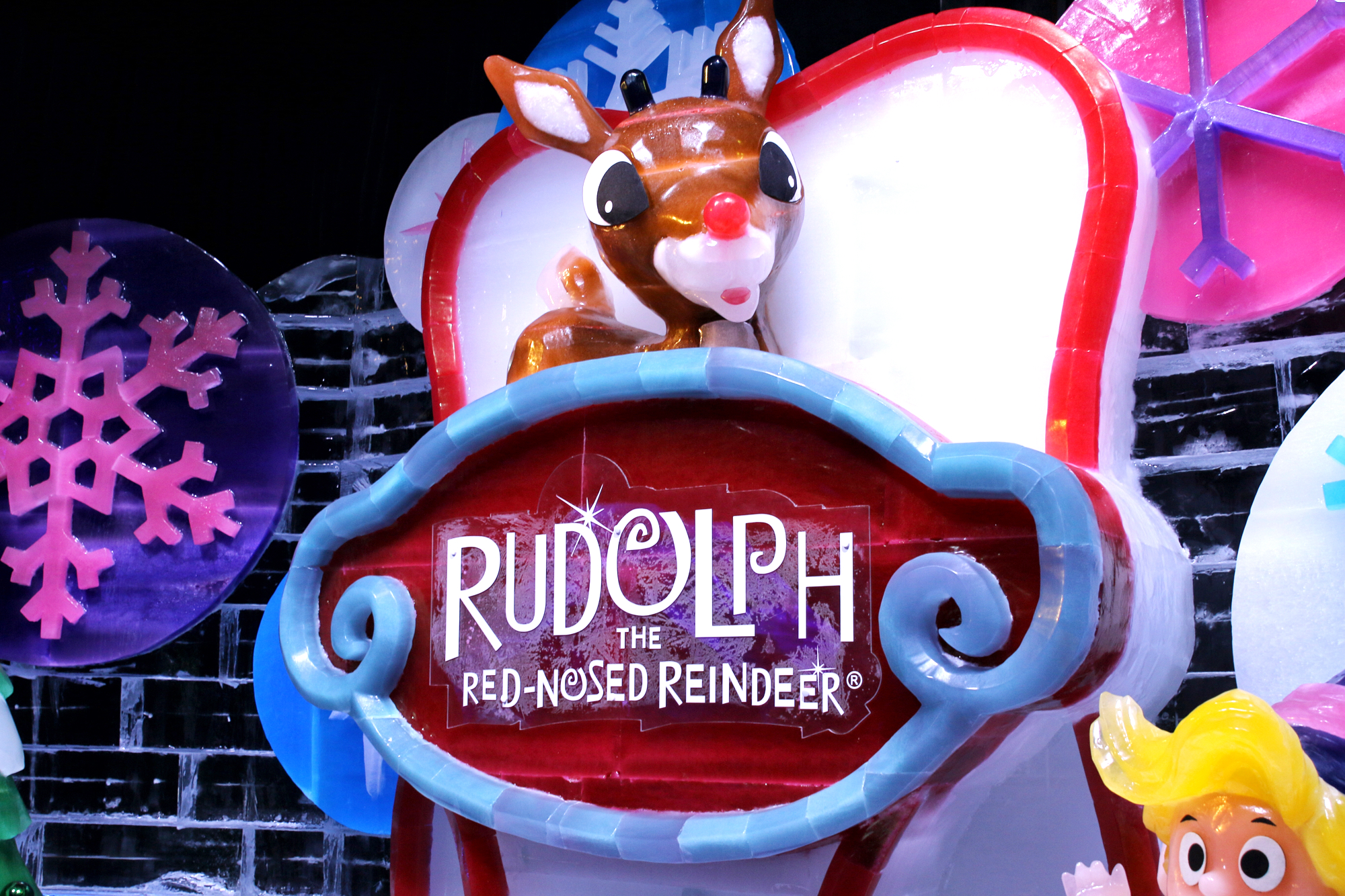 Rudolph the red-nosed reindeer at ice