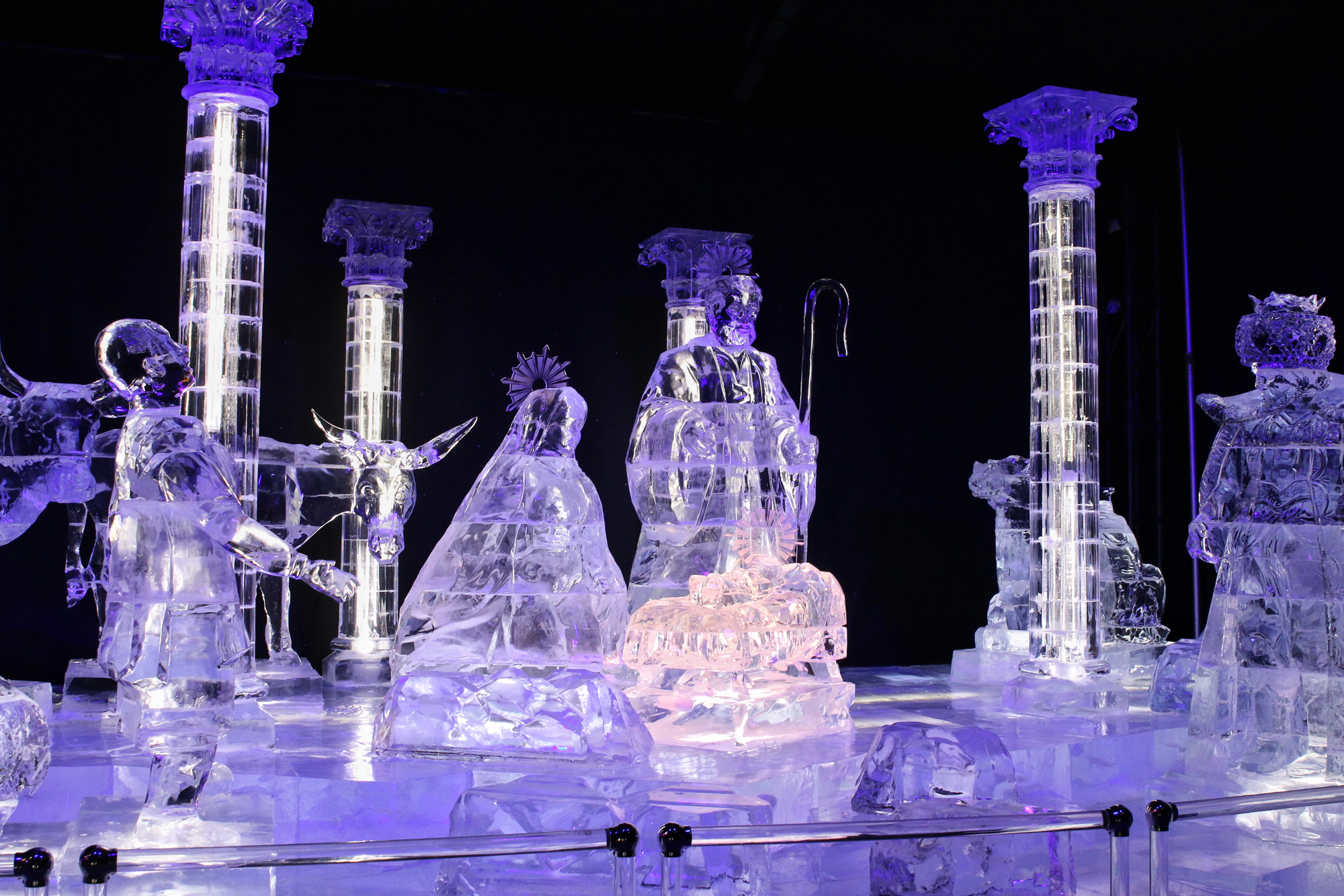 nativity scene carved in ice
