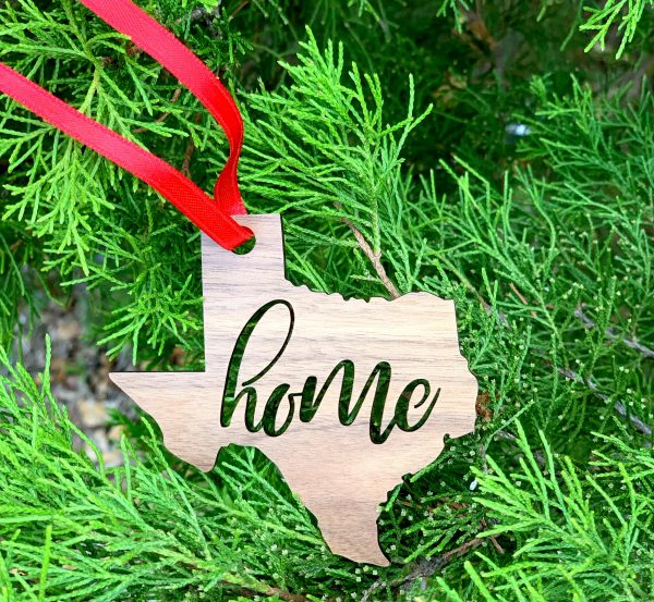 Texas home state wooden ornament